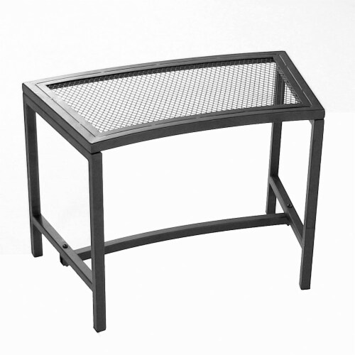 """Sunnydaze Curved Black Mesh Outdoor Patio Fire Pit Bench - 23"""" x 16"""" - 1 Bench Perspective: front"""