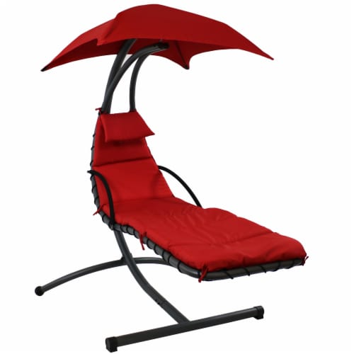 Sunnydaze Hanging Floating Chaise Lounge Patio Swing Chair with Canopy - Red Perspective: front