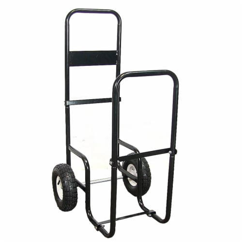 Sunnydaze Log Cart Steel Heavy-Duty Rolling Wheeled Firewood Carrier Dolly Perspective: front