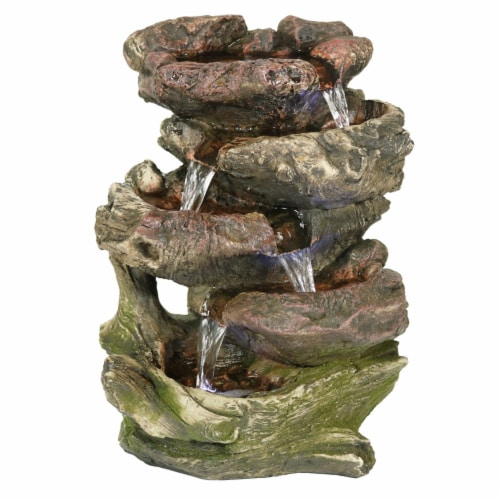 """Sunnydaze 5 Step Rock Falls Tabletop Indoor Fountain Feature w/ LED Lights - 14"""" Perspective: front"""