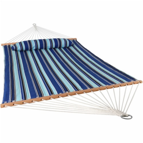 Sunnydaze 2-Person Quilted Spreader Bar Hammock Bed and Pillow - Catalina Beach Perspective: front