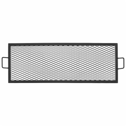 """Sunnydaze Cooking Grate X Marks Heavy-Duty Steel Rectangle Fire Pit Grill - 36"""" Perspective: front"""