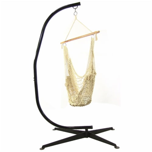Sunnydaze Cotton Rope Hanging Hammock Chair Swing with C-Stand - 300-Pound Limit Perspective: front