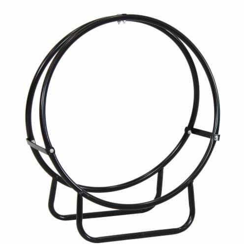 """Sunnydaze Log Rack 24"""" Black Steel Indoor Outdoor Log Hoop Firewood Storage Perspective: front"""