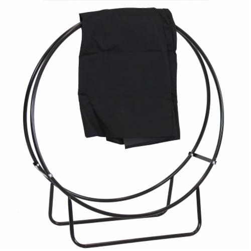 "Sunnydaze Firewood Log Hoop Holder with Black Cover Outdoor Black Steel - 40"" Perspective: front"