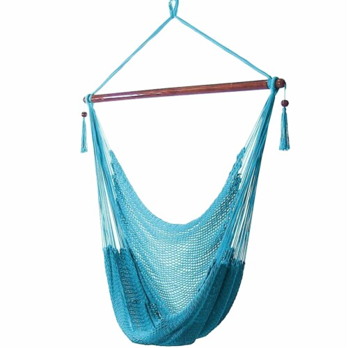 Sunnydaze Polyester Extra-Large Hanging Rope Caribbean Hammock Chair - Sky Blue Perspective: front