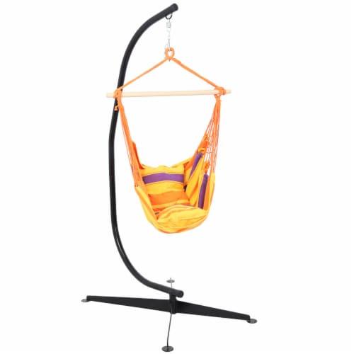 Sunnydaze Indoor-Outdoor Hammock Chair Swing and C-Stand Set - Summer Breeze Perspective: front