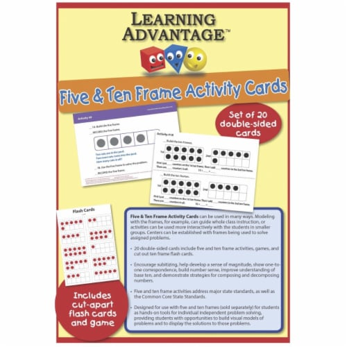 Learning Advantage 1540204 F U N Five & Ten Frame Activty Cards Perspective: front