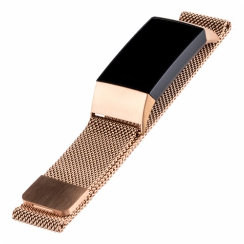 WITHit Fitbit Charge 3/4 Mesh Band - Rose Gold Perspective: front