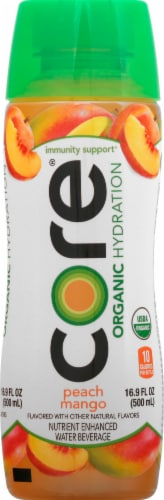 Core Organic Peach Mango Enhanced Beverage Perspective: front