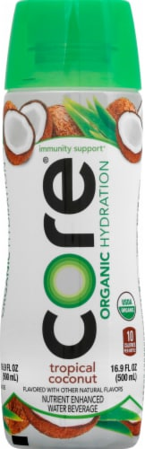Core Organic Hydration Tropical Coconut Nutrient Enhanced Water Beverage Perspective: front