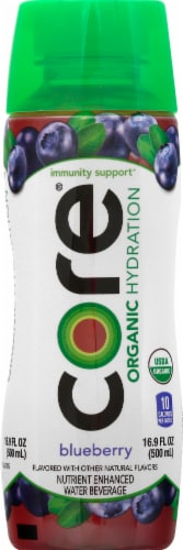 Core Organic Hydration Blueberry Nutrient Enhanced Water Beverage Perspective: front