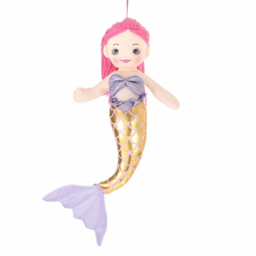 Giftable World MM02 12 in. Plush Haired Mermaid Doll - Pink Perspective: front