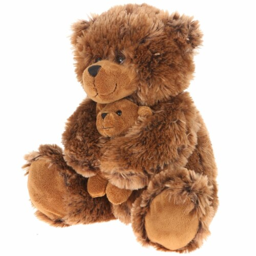 Giftable World A01065 14 in. Plush Shaggy Bear with Baby - Brown Perspective: front