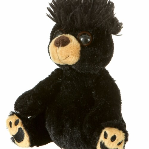 Giftable World S00030 7 in. Plush Mop Top Bear - Black Perspective: front