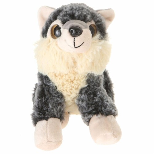 Giftable World A00058 7 in. Plush Big Eyes Squating Wolf Perspective: front
