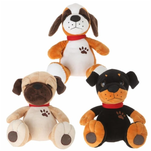 Giftable World AD120004 11 in. Plush Dog - 3 Assorted Color Perspective: front