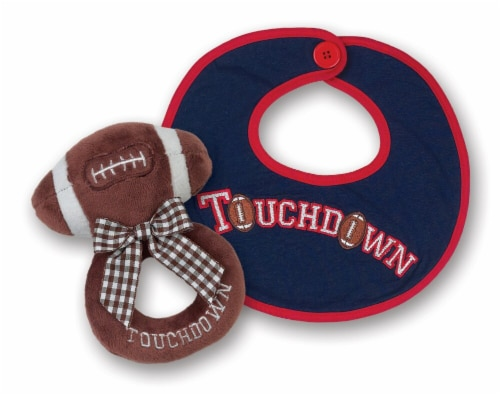 Bearington Baby  Lil' Slugger Football Teddy Bear Rattle and Pacifier Clip Combo Pack Perspective: front