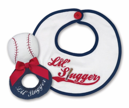 Bearington Baby Lil' Slugger Baseball Teddy Bear Rattle and Pacifier Clip Combo Pack Perspective: front