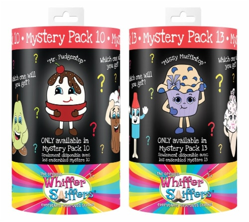 Whiffer Sniffer  Mystery Pack 10 and Mystery Pack 13 Scented Backpack Clip Combo Pack Perspective: front