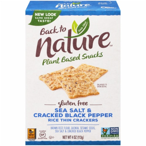 Back to Nature Sea Salt & Cracked Pepper Rice Thin Crackers Perspective: front
