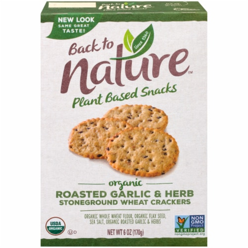 Back To Nature Organic Roasted Garlic & Herb Stoneground Wheat Crackers Perspective: front