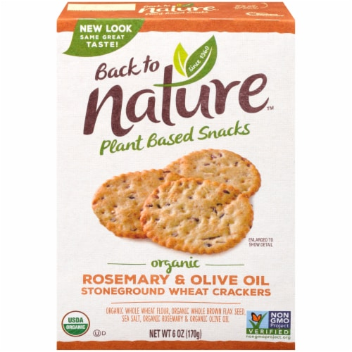 Back To Nature Organic Rosemary & Olive Oil Stoneground Wheat Crackers Perspective: front