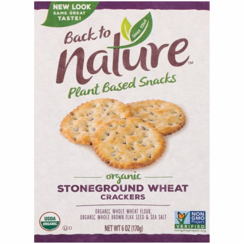 Back to Nature Stoneground Wheat Crackers Perspective: front