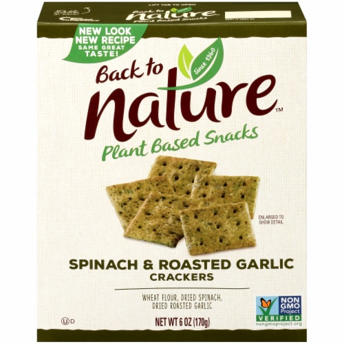 Back to Nature Spinach & Roasted Garlic Crackers Perspective: front