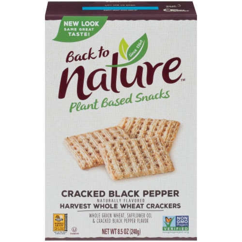 Back To Nature Cracked Black Pepper Harvest Whole Wheat Crackers Perspective: front