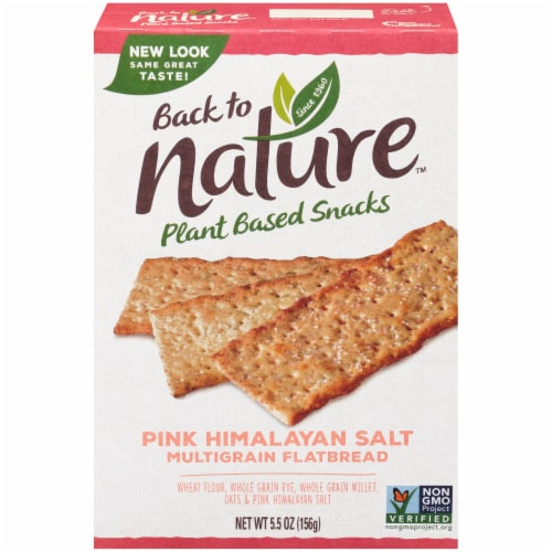 Back to Nature Pink Himalayan Salt Multigrain Flatbread Crackers Perspective: front
