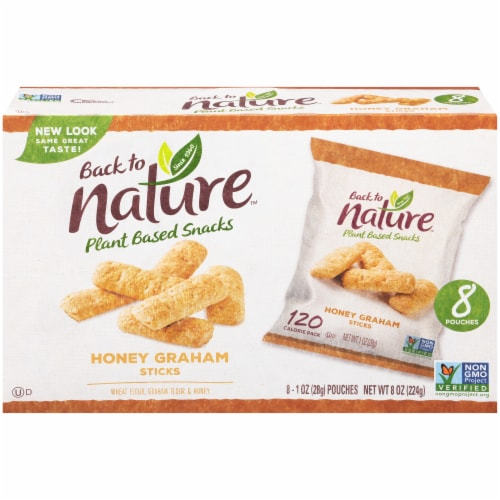 Back to Nature Honey Graham Sticks Pouches Perspective: front