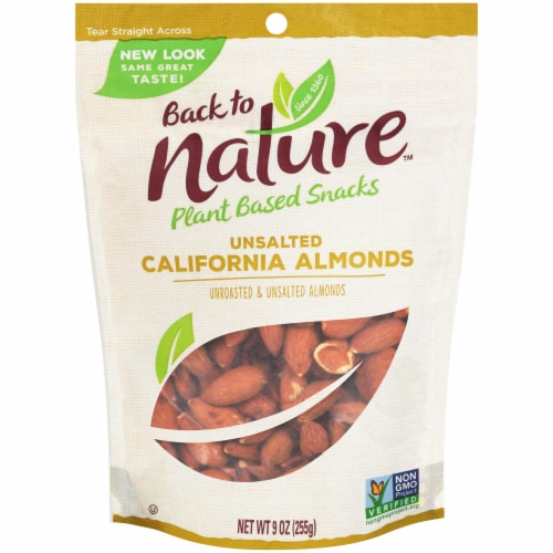 Back to Nature Unsalted California Almonds Perspective: front
