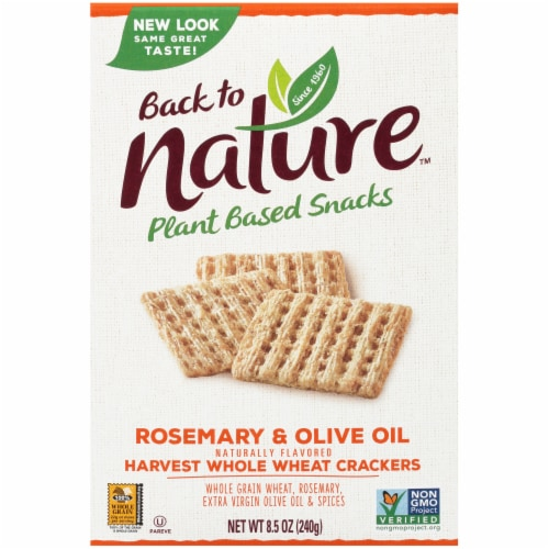 Back to Nature Harvest Rosemary and Olive Oil Whole Wheat Crackers Perspective: front