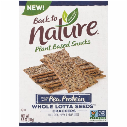Back to Nature Pea Protein Whole Lotta Seeds Crackers Perspective: front