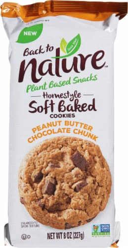 Back to Nature Peanut Butter Chunk Homestyle Soft Baked Cookies Perspective: front