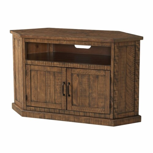 Martin Svensson Home Rustic Corner 50  Solid Wood TV Stand Natural Brown Perspective: front