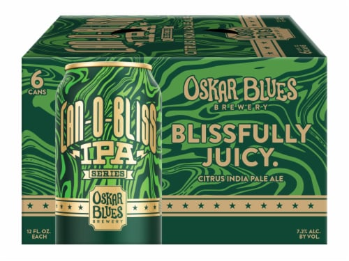 Oskar Blues Brewery Blissfully Juicy Citrus IPA Perspective: front