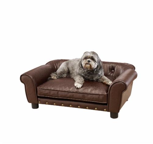 Enchanted Home Pet Brisbane Pet Sofa - Pebble Brown Perspective: front