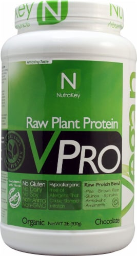 NutraKey VPRO Chocolate Flavored Raw Plant Protein Blend Perspective: front