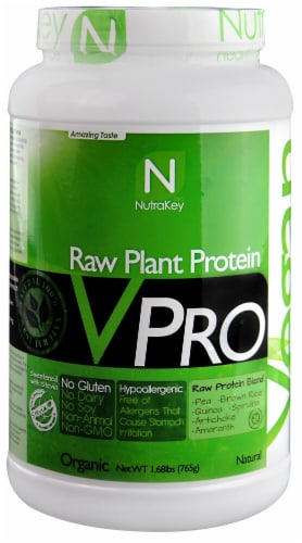 NutraKey VPRO Natural Raw Plant Protein Blend Perspective: front