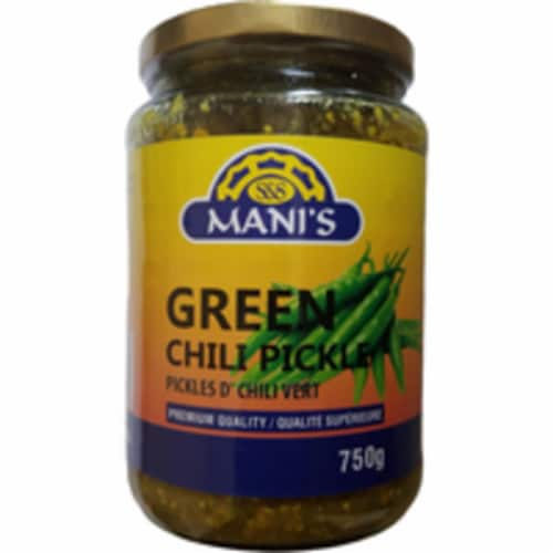 Mani's Green Chilli Pickle - 750 Gm Perspective: front