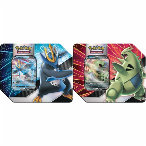 Pokemon: V Strikers Tin (Tyranitar V / Empoleon V) Perspective: front