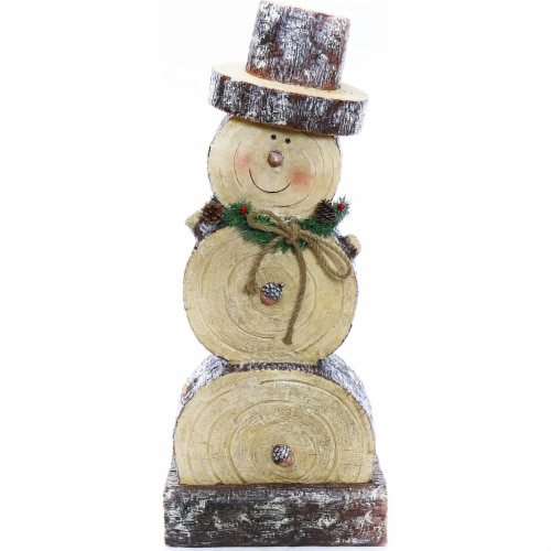 Good Tidings Wooden Snowman Statue Perspective: front