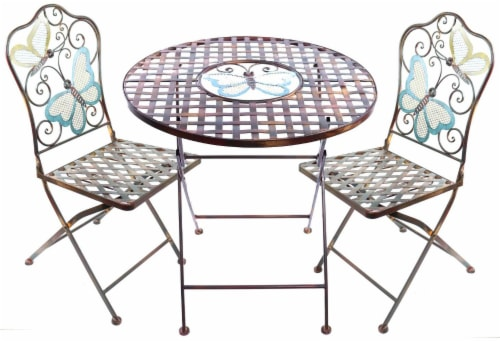 Alpine Corporation Butterfly Bistro Set Perspective: front