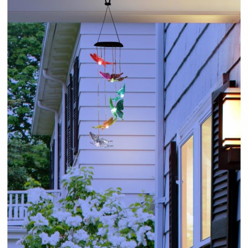 Alpine Corp  QLP842SLR-CC Solar Butterfly Wind Chime with LED Light Perspective: front