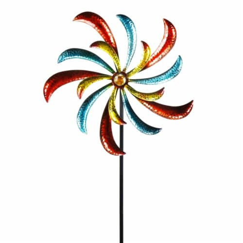 Alpine Corp SLL1874 Colorful Swirl Kinetic Wind Spinner Garden Stake Perspective: front