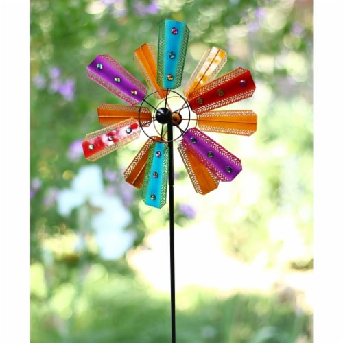 Alpine Corp BVF234 Colorful Kinetic Wind Spinner Garden Stake with Gems Perspective: front