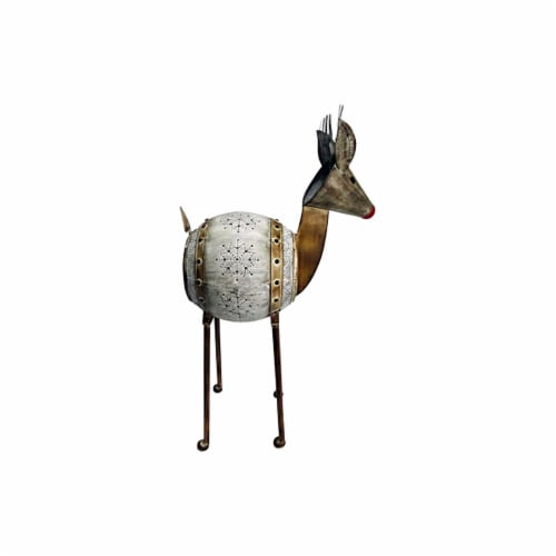 Good Tidings Metal Barrel Reindeer Perspective: front