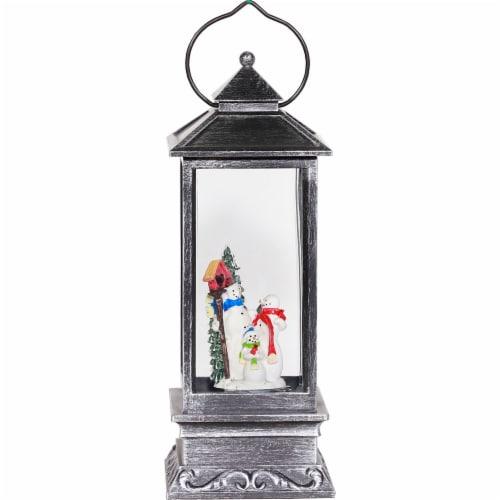 Good Tidings Black LED Lit Snowman Globe Perspective: front